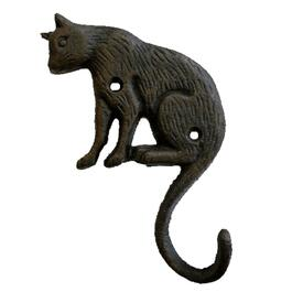 "4"" x 7"" Cast Iron Cat Design Single Hook thumb"