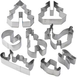 8 Piece Christmas Stainless Steel 3D Cookie Cutter Set thumb