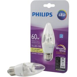 7W B12 Medium Base Soft White Warm Glow Dimmable LED Light Bulb thumb