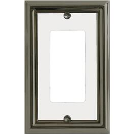 Estate Nickel with White Center Single Rocker Metal Switch Plate thumb