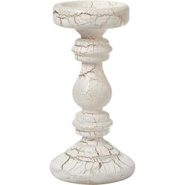 "9"" White Crackle Pillar Candle Holder thumb"