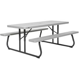 6' Grey Folding Picnic Table thumb