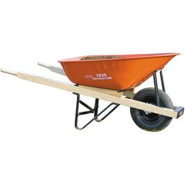 6 Cu. Ft Deluxe Steel Tray Wheelbarrow, with Wood Handles thumb
