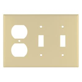 Ivory Duplex 2 Toggle Switch Receptacle Plate thumb