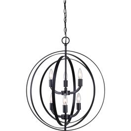 Meridian 6 Light Matte Black Chandelier Light Fixture thumb