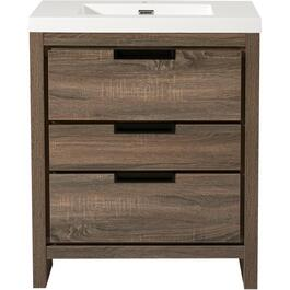 "30"" x 19"" Davenport Barnwood 3 Drawer Vanity with Cultured Marble Top thumb"