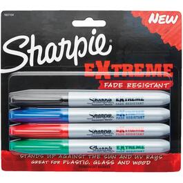 4 Pack Extreme (1 each of black, red, blue, green) Fade Resistant Permanent Markers thumb