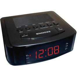 1 Alarm Red LED Black Display Clock Radio thumb