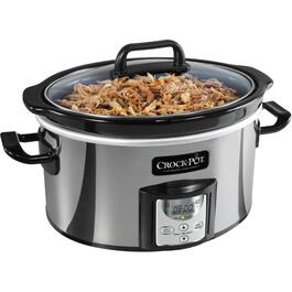 4.0 Quart Oval Polished Stainless Steel Slow Cooker, with Digital Display thumb