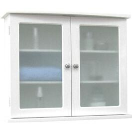 "22.5"" x 18.5"" 2 Glass Door White Wall Cabinet thumb"