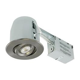"4"" 6.5W Brushed Nickel Recessed Tilting LED Light Fixture for Non Insulated Ceilings thumb"