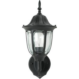 "15"" Black Outdoor Upward Coach Light Fixture with Clear Bubble Glass thumb"