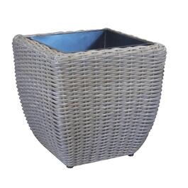 "16"" x 16"" x 16"" Harvest Grey Square Resin Wicker Planter thumb"