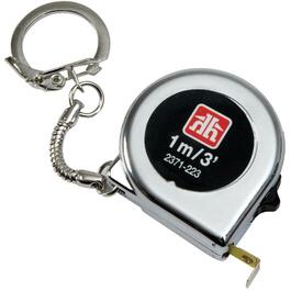"1/4"" x 3' Chrome Tape Measure, with Keychain thumb"