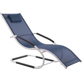 Navy White Aluminum Wave Chaise Lounge thumb