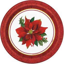"8 Pack 7"" Holly Poinsettia Paper Plates thumb"