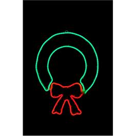 "24"" Indoor/Outdoor Neon Red and Green Wreath Motif thumb"