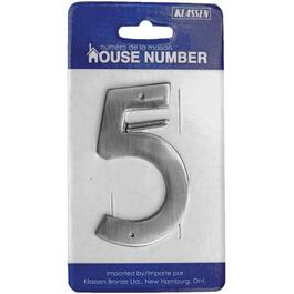"3.5"" Antique Nickel Nail-On '5' House Number thumb"