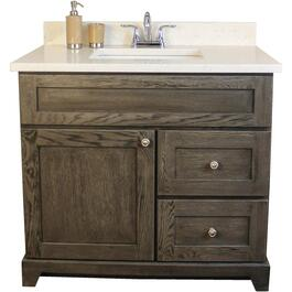 "Burlington 36"" 1 Door 2 Drawer Grey Oak Vanity with Quartz Top thumb"