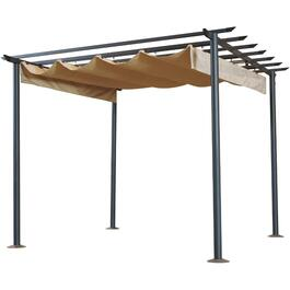 10' x 10' Steel Greek Arbour Style Pergola, with Retractable Sun Shade thumb