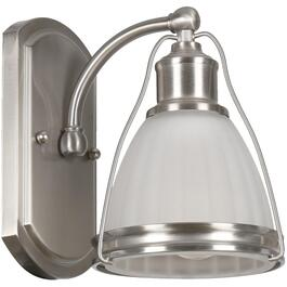 Landry 1 Light Satin Nickel Wall Light Fixture with White Glass Shades thumb