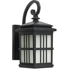 "15"" Black Outdoor Downward Coach Light with Frosted Seeded Glass thumb"