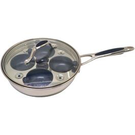 "8"" Stainless Steel Non Stick Frying Pan, with 4 Poachers and Cover thumb"