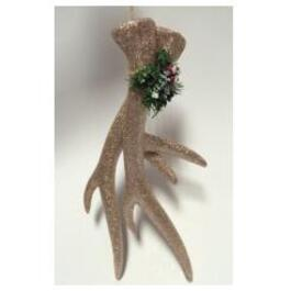 "12"" Plastic Glittered Gold Deer Antler Ornament thumb"