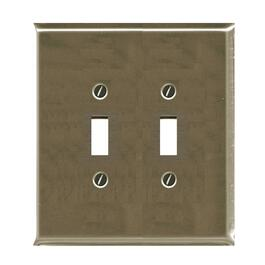 2 Toggle Brushed Nickel Switch Plate thumb