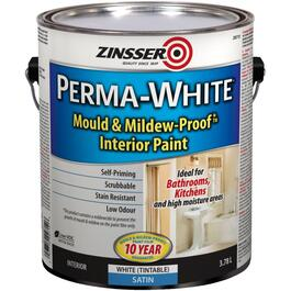 3.78L Interior Perma White Wall and Ceiling Satin Latex Paint thumb