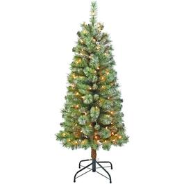 4.5' Flocked Glitter Christmas Tree, with 100 Clear Lights thumb
