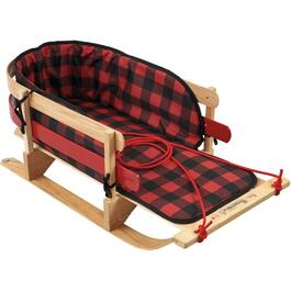 "39.5"" Wood Baby Sleigh, with Plaid Pad thumb"