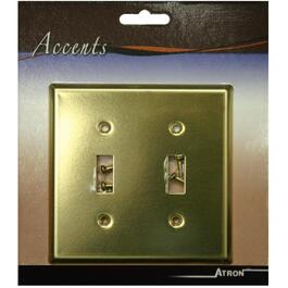 Polished Brass 2 Toggle Switch Plate thumb