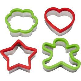 4 Piece Christmas Silicone/Stainless Steel Cookie Cutter Set thumb