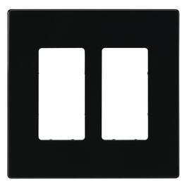 Screwless Black 2 Device Switch Plate thumb