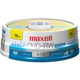 15 Pack 4.7GB DVD-RW Spindle Disks thumb