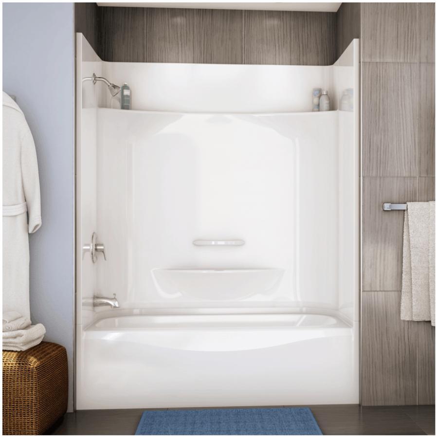 maax essence 4 piece white fibreglass left hand tub and shower less