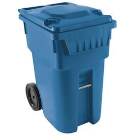 "360L Blue American Grip Curbside Garbage Can, with 12"" Wheels thumb"