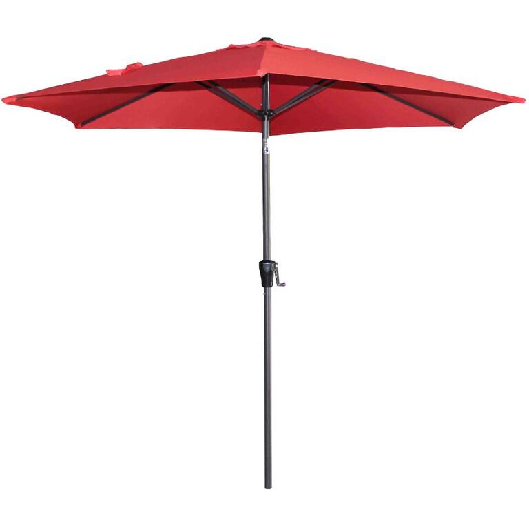 INSTYLE OUTDOOR:9' Cherry Red Tilt and Crank Market Umbrella
