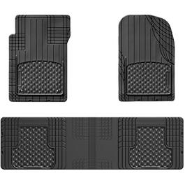 Black 3 Piece Universal Vehicle Floor Mat Set thumb