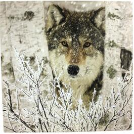 "16"" x 16"" Canvas Wolf Wall Art, with Fibre Optic Lights thumb"