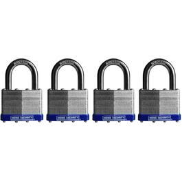 "4 Pack 1-1/2"" Keyed Alike Laminated Padlocks thumb"