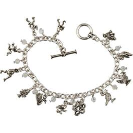 12 Days of Christmas Silver Charm Bracelet thumb