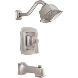 Boardwalk Spot Resist Nickel Single Lever Pressure Balance Tub and Shower Faucet thumb