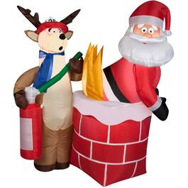 4' Outdoor Inflatable Airblown Santa on Fire Figure thumb