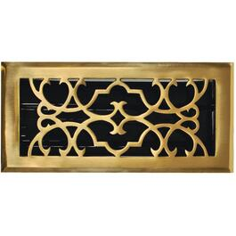 "3"" x 10"" Solid Brass Scroll Floor Diffuser thumb"