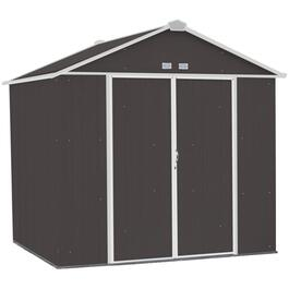 8' x 7' Charcoal with Cream Trim Storage Shed thumb