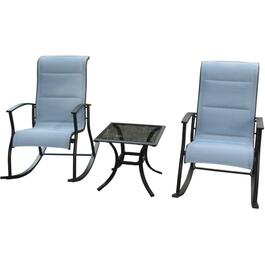3 Piece Clarity Steel Rocking Chat Set thumb