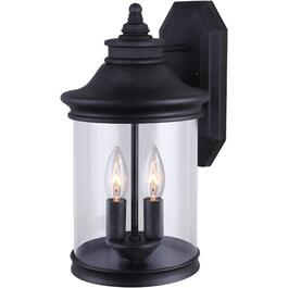 Bexley 2 Light Black Outdoor Downward Coach Light with Clear Glass thumb