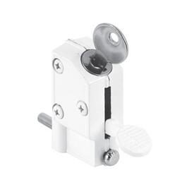 Keyed White Sliding Patio Door Lock thumb